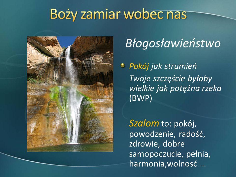 Błogosławieństwo Pokój jak strumień Twoje szczęście byłoby wielkie jak potężna rzeka (BWP) Szalom to: pokój, powodzenie, radość, zdrowie, dobre samopo