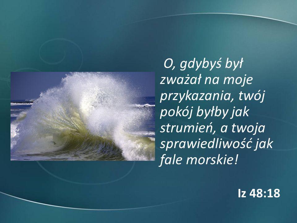 O, gdybyś był zważał na moje przykazania, twój pokój byłby jak strumień, a twoja sprawiedliwość jak fale morskie! Iz 48:18