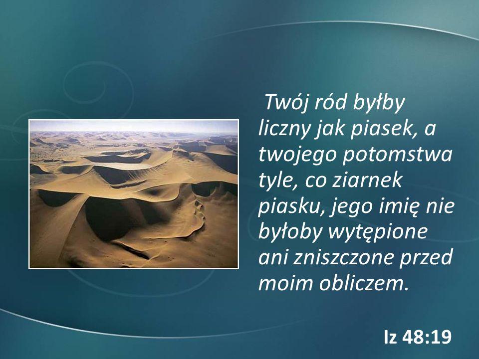 Twój ród byłby liczny jak piasek, a twojego potomstwa tyle, co ziarnek piasku, jego imię nie byłoby wytępione ani zniszczone przed moim obliczem. Iz 4