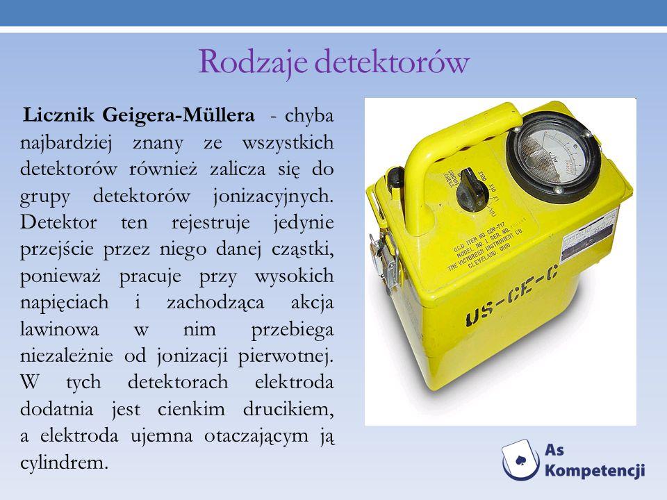 Rodzaje detektorów Licznik Geigera-Müllera - chyba najbardziej znany ze wszystkich detektorów również zalicza się do grupy detektorów jonizacyjnych. D