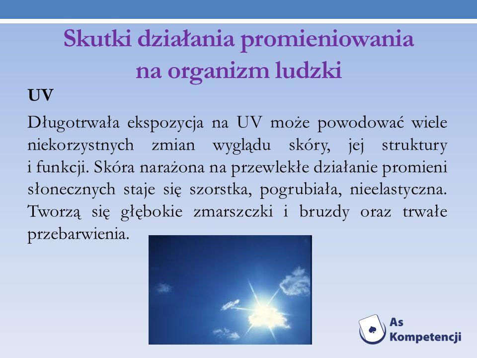 Skutki działania promieniowania na organizm ludzki UV Długotrwała ekspozycja na UV może powodować wiele niekorzystnych zmian wyglądu skóry, jej strukt