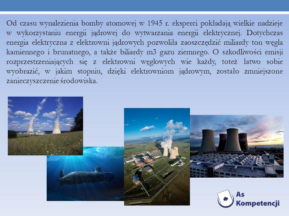 Od czasu wynalezienia bomby atomowej w 1945 r. eksperci pokładają wielkie nadzieje w wykorzystaniu energii jądrowej do wytwarzania energii elektryczne