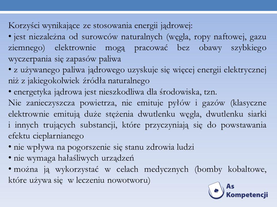 Korzyści wynikające ze stosowania energii jądrowej: jest niezależna od surowców naturalnych (węgla, ropy naftowej, gazu ziemnego) elektrownie mogą pra