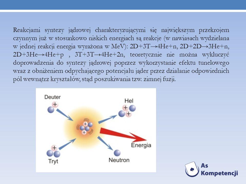 Reakcjami syntezy jądrowej charakteryzującymi się największym przekrojem czynnym już w stosunkowo niskich energiach są reakcje (w nawiasach wydzielana
