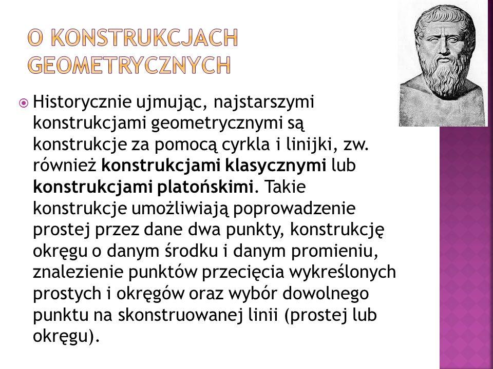 Historycznie ujmując, najstarszymi konstrukcjami geometrycznymi są konstrukcje za pomocą cyrkla i linijki, zw. również konstrukcjami klasycznymi lub k
