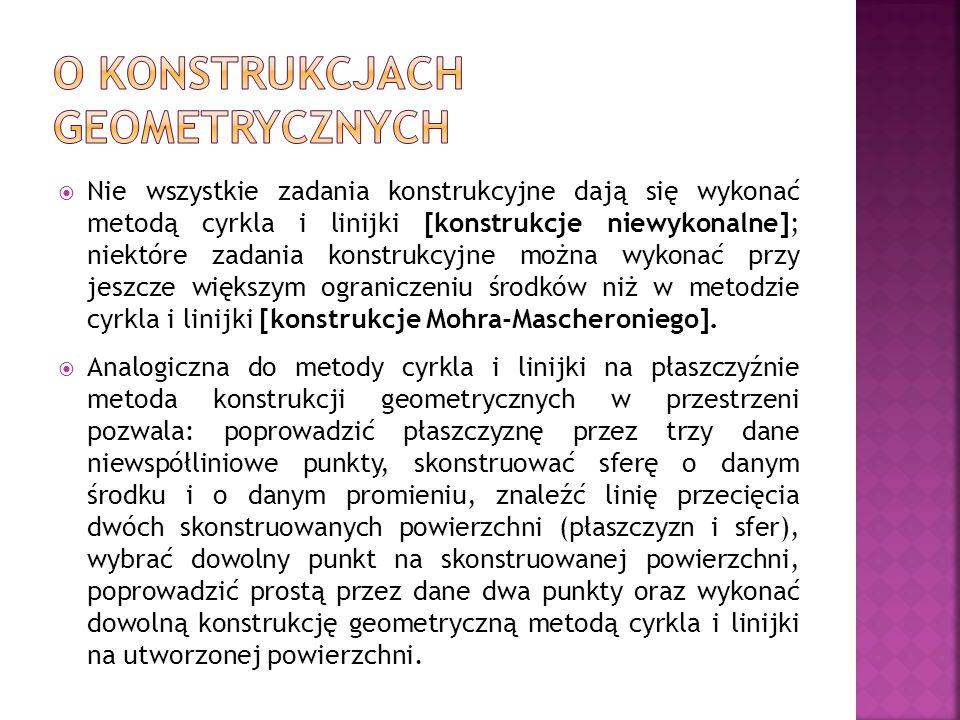 Nie wszystkie zadania konstrukcyjne dają się wykonać metodą cyrkla i linijki [konstrukcje niewykonalne]; niektóre zadania konstrukcyjne można wykonać