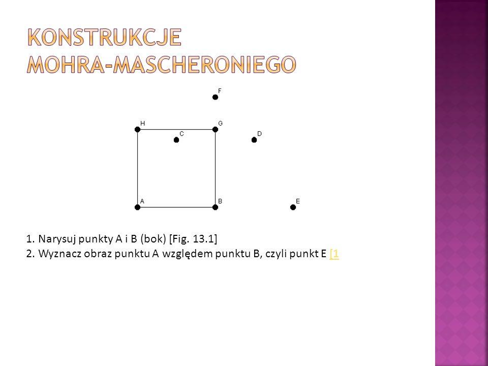 1. Narysuj punkty A i B (bok) [Fig. 13.1] 2. Wyznacz obraz punktu A względem punktu B, czyli punkt E [1[1