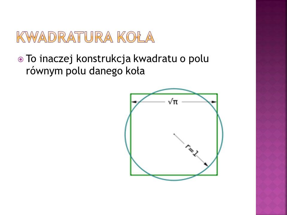 To inaczej konstrukcja kwadratu o polu równym polu danego koła