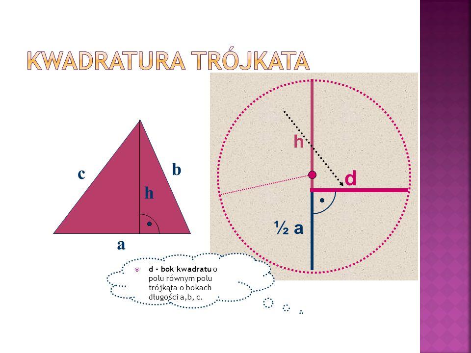 a b c h h ½ a d d - bok kwadratu o polu równym polu trójkąta o bokach długości a,b, c.