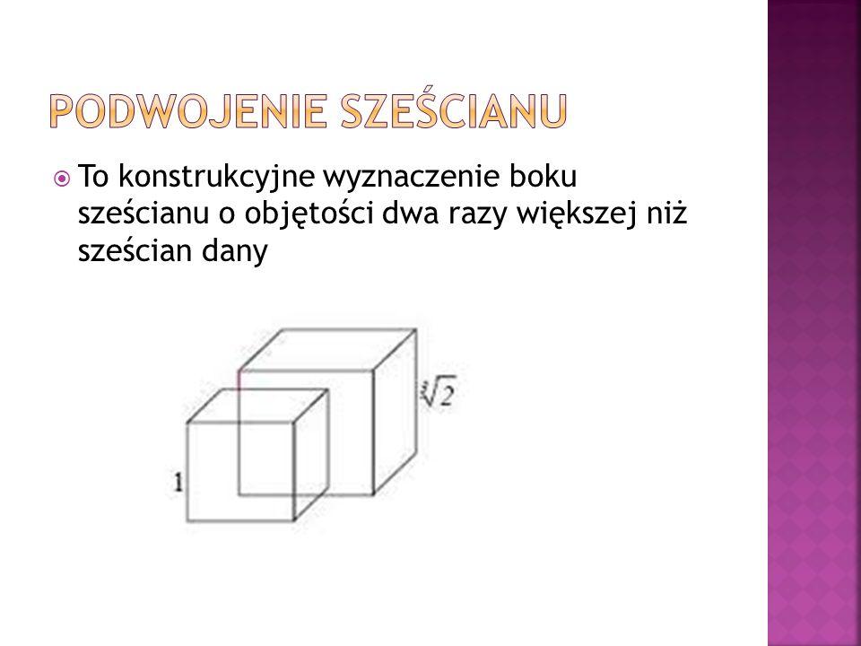 To konstrukcyjne wyznaczenie boku sześcianu o objętości dwa razy większej niż sześcian dany