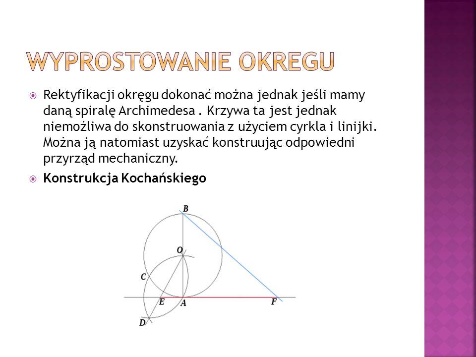 Rektyfikacji okręgu dokonać można jednak jeśli mamy daną spiralę Archimedesa. Krzywa ta jest jednak niemożliwa do skonstruowania z użyciem cyrkla i li