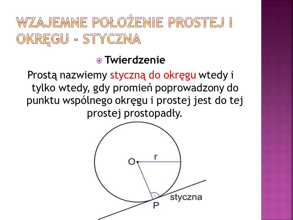 Twierdzenie Prostą nazwiemy styczną do okręgu wtedy i tylko wtedy, gdy promień poprowadzony do punktu wspólnego okręgu i prostej jest do tej prostej p