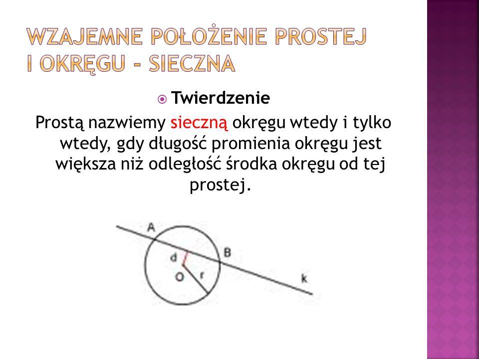 Twierdzenie Prostą nazwiemy sieczną okręgu wtedy i tylko wtedy, gdy długość promienia okręgu jest większa niż odległość środka okręgu od tej prostej.