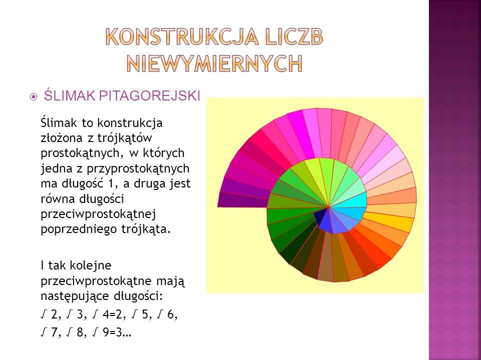 ŚLIMAK PITAGOREJSKI ŚLIMAK PITAGOREJSKI Ślimak to konstrukcja złożona z trójkątów prostokątnych, w których jedna z przyprostokątnych ma długość 1, a d