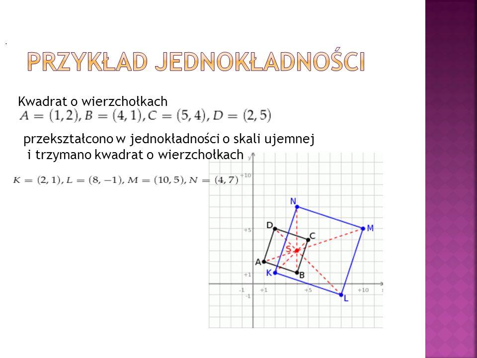 Kwadrat o wierzchołkach przekształcono w jednokładności o skali ujemnej i trzymano kwadrat o wierzchołkach.