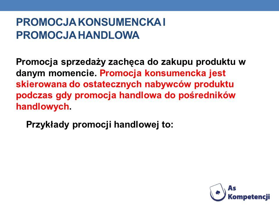 PROMOCJA KONSUMENCKA I PROMOCJA HANDLOWA Promocja sprzedaży zachęca do zakupu produktu w danym momencie. Promocja konsumencka jest skierowana do ostat