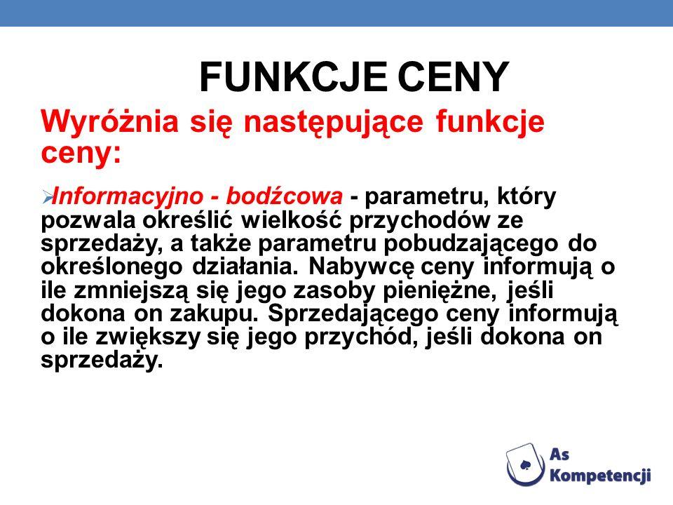 FUNKCJE CENY Wyróżnia się następujące funkcje ceny: Informacyjno - bodźcowa - parametru, który pozwala określić wielkość przychodów ze sprzedaży, a ta