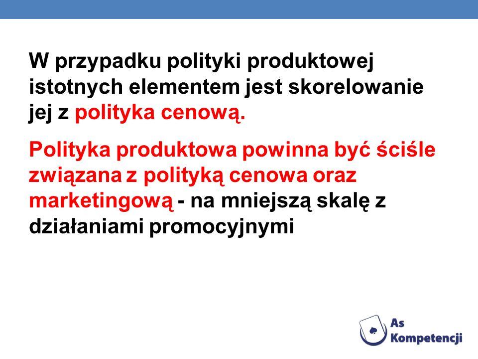 W przypadku polityki produktowej istotnych elementem jest skorelowanie jej z polityka cenową. Polityka produktowa powinna być ściśle związana z polity