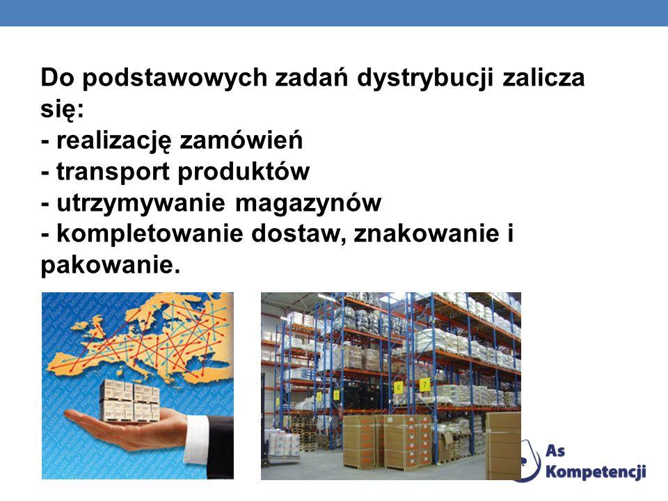 Do podstawowych zadań dystrybucji zalicza się: - realizację zamówień - transport produktów - utrzymywanie magazynów - kompletowanie dostaw, znakowanie