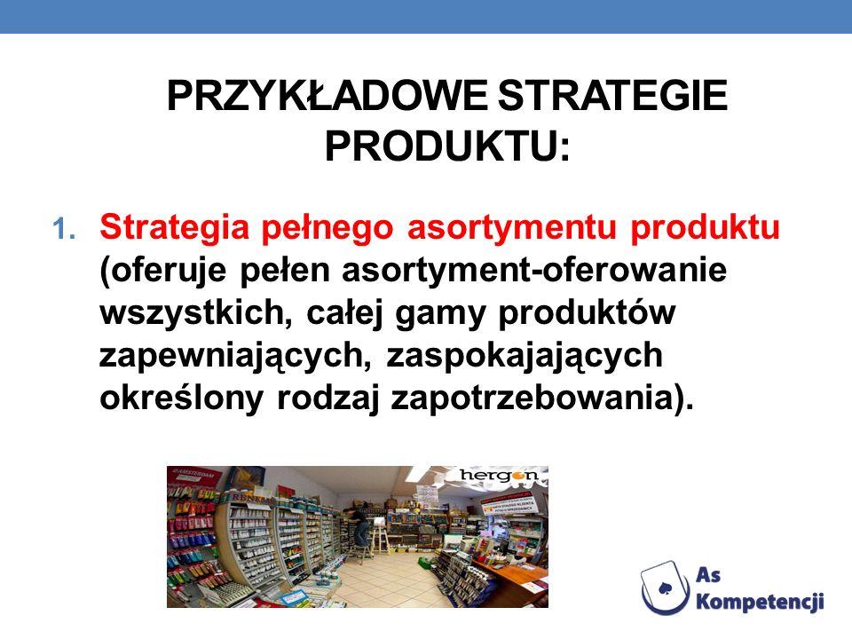 PRZYKŁADOWE STRATEGIE PRODUKTU: 1. Strategia pełnego asortymentu produktu (oferuje pełen asortyment-oferowanie wszystkich, całej gamy produktów zapewn
