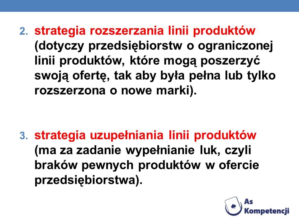 2. strategia rozszerzania linii produktów (dotyczy przedsiębiorstw o ograniczonej linii produktów, które mogą poszerzyć swoją ofertę, tak aby była peł