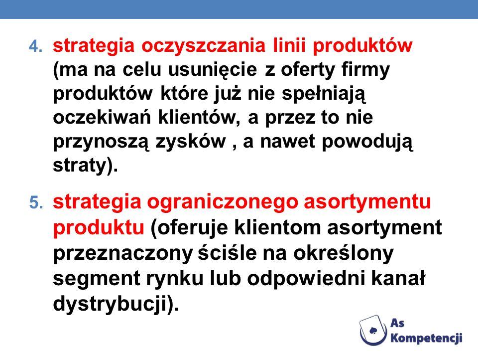 4. strategia oczyszczania linii produktów (ma na celu usunięcie z oferty firmy produktów które już nie spełniają oczekiwań klientów, a przez to nie pr