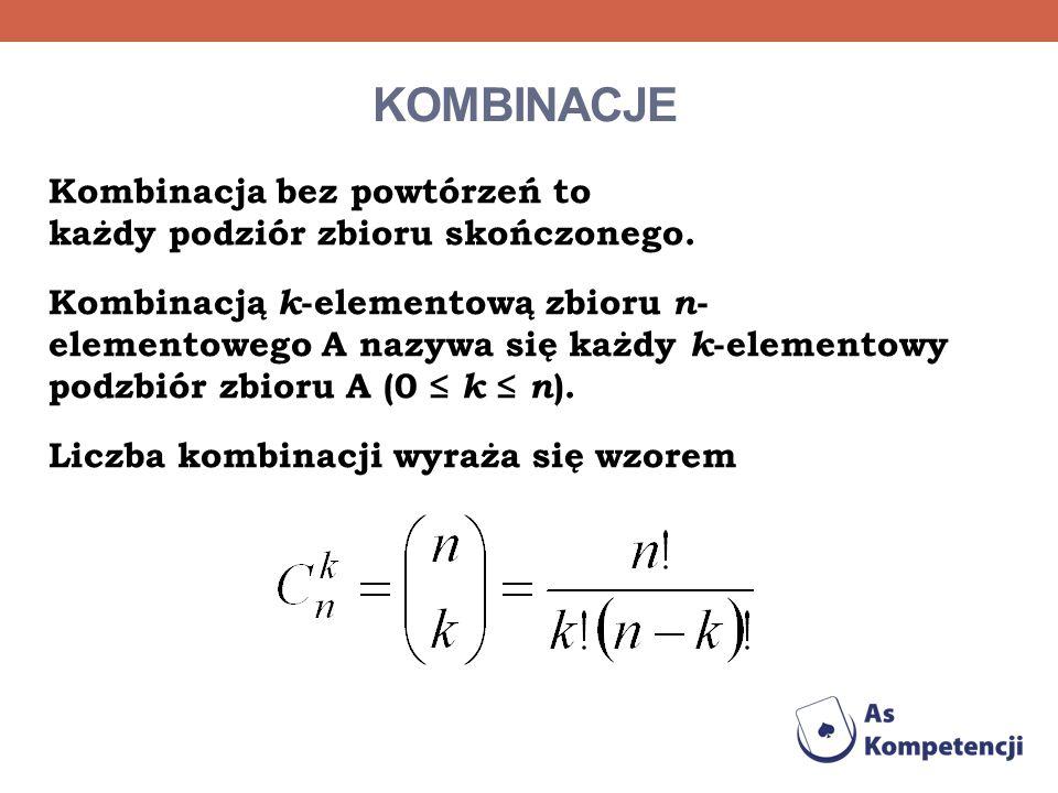 KOMBINACJE Kombinacja bez powtórzeń to każdy podziór zbioru skończonego. Kombinacją k -elementową zbioru n - elementowego A nazywa się każdy k -elemen