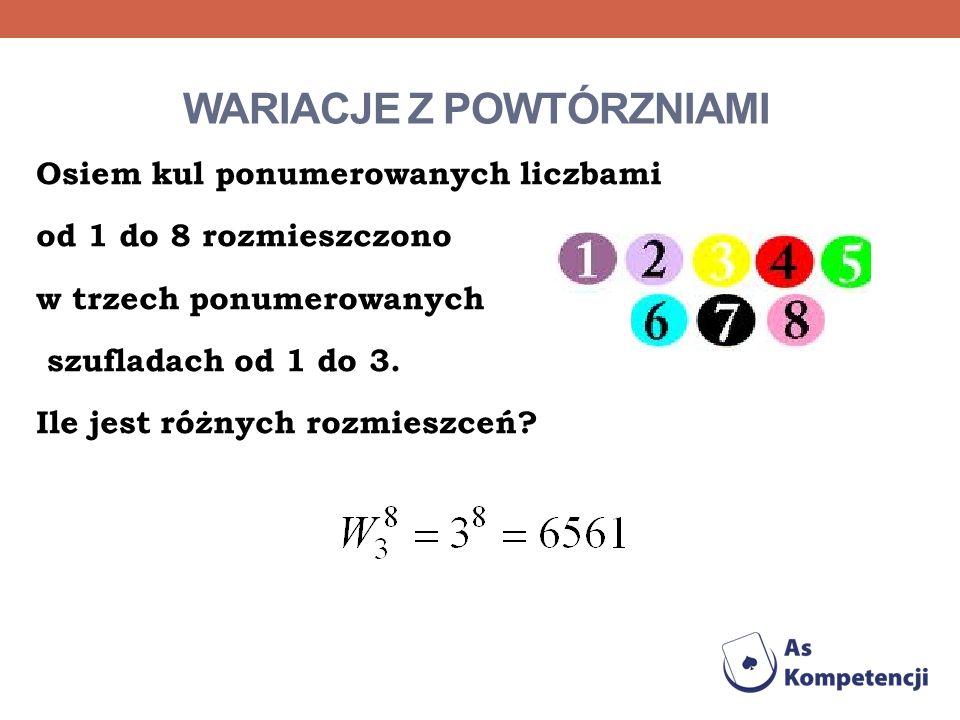 WARIACJE Z POWTÓRZNIAMI Osiem kul ponumerowanych liczbami od 1 do 8 rozmieszczono w trzech ponumerowanych szufladach od 1 do 3. Ile jest różnych rozmi