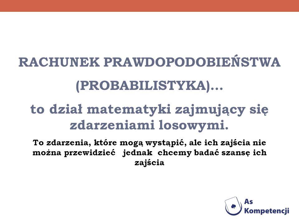 RACHUNEK PRAWDOPODOBIEŃSTWA (PROBABILISTYKA)… to dział matematyki zajmujący się zdarzeniami losowymi. To zdarzenia, które mogą wystąpić, ale ich zajśc