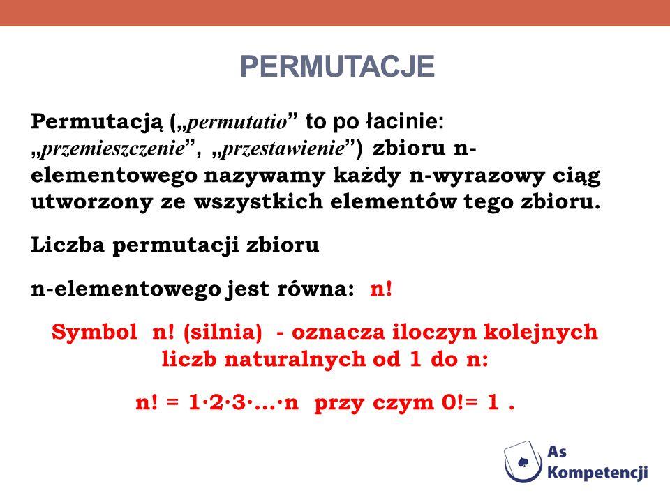 PERMUTACJE Permutacją ( permutatio to po łacinie: przemieszczenie, przestawienie ) zbioru n- elementowego nazywamy każdy n-wyrazowy ciąg utworzony ze
