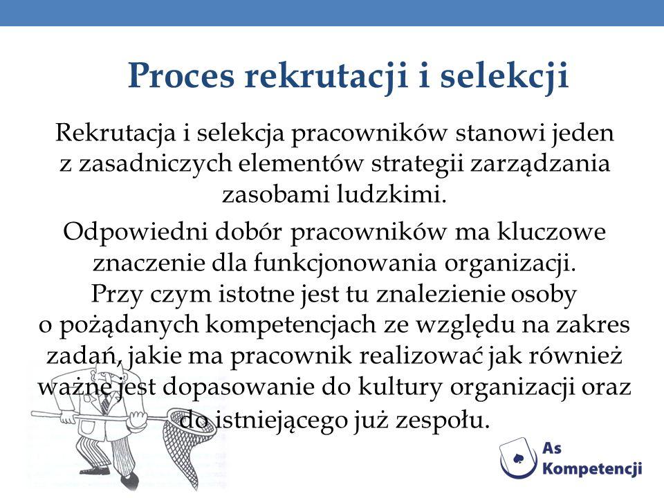 Proces rekrutacji i selekcji Rekrutacja i selekcja pracowników stanowi jeden z zasadniczych elementów strategii zarządzania zasobami ludzkimi. Odpowie