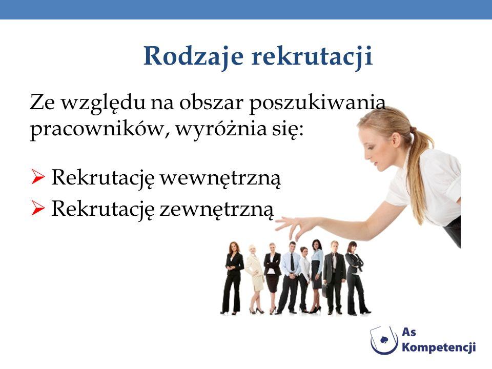 Rodzaje rekrutacji Ze względu na obszar poszukiwania pracowników, wyróżnia się: Rekrutację wewnętrzną Rekrutację zewnętrzną