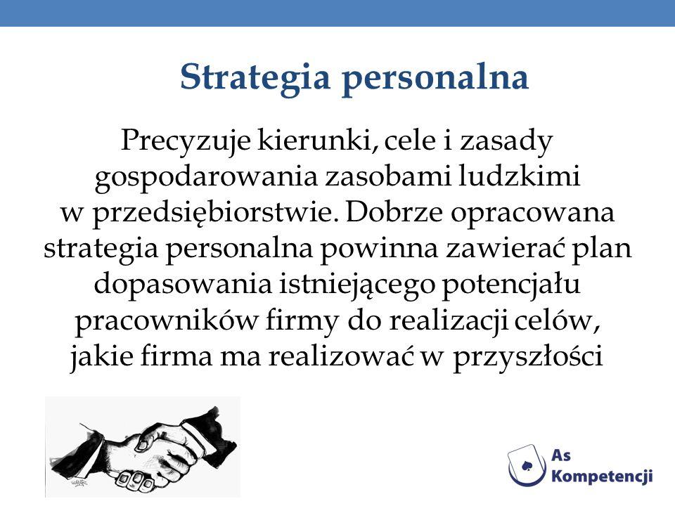 Strategia personalna Precyzuje kierunki, cele i zasady gospodarowania zasobami ludzkimi w przedsiębiorstwie. Dobrze opracowana strategia personalna po
