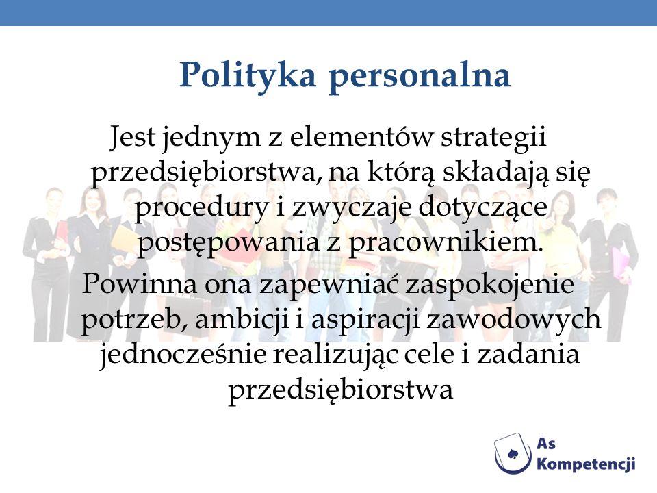 Polityka personalna Jest jednym z elementów strategii przedsiębiorstwa, na którą składają się procedury i zwyczaje dotyczące postępowania z pracowniki