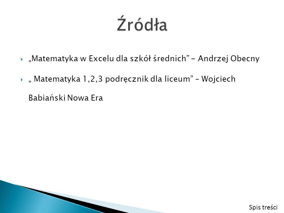 Matematyka w Excelu dla szkół średnich - Andrzej Obecny Matematyka 1,2,3 podręcznik dla liceum – Wojciech Babiański Nowa Era Spis treści