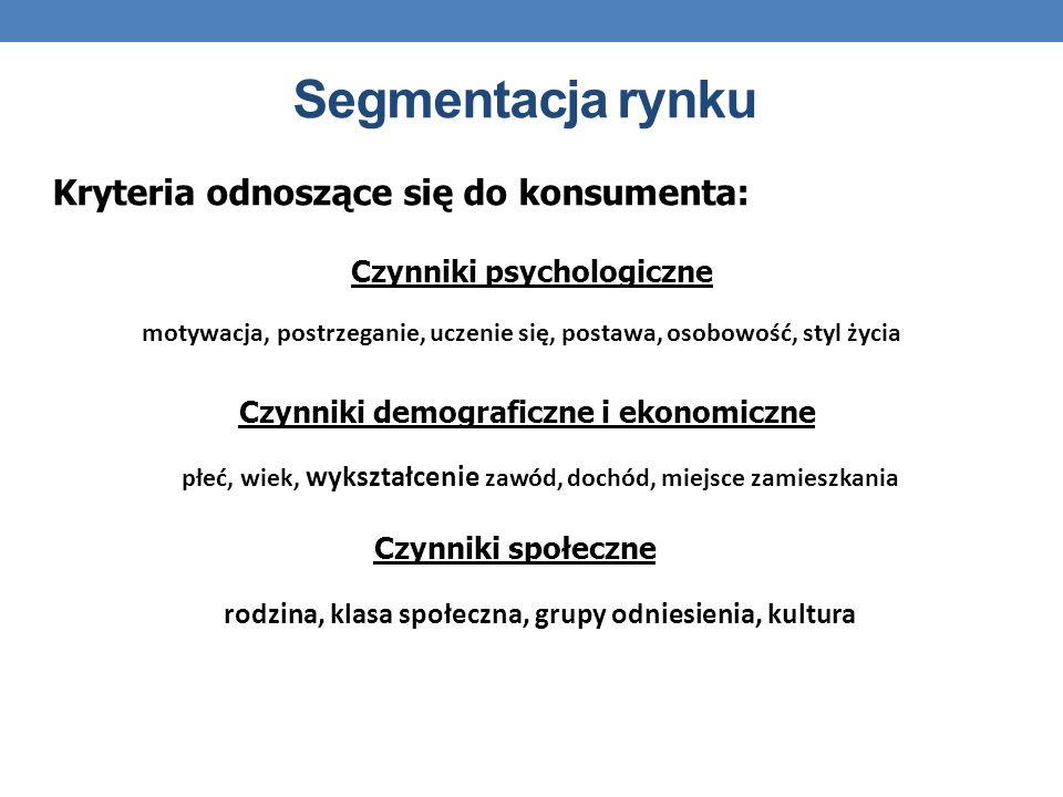 Segmentacja rynku Kryteria odnoszące się do konsumenta: motywacja, postrzeganie, uczenie się, postawa, osobowość, styl życia Czynniki psychologiczne p