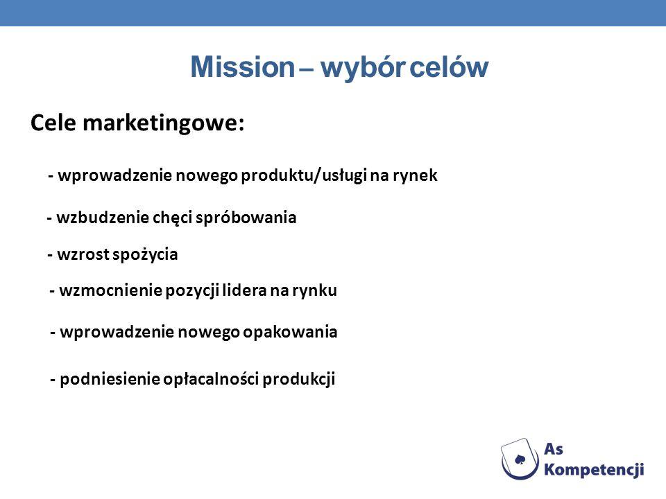 Mission – wybór celów Cele marketingowe: - wprowadzenie nowego produktu/usługi na rynek - wzbudzenie chęci spróbowania - wzrost spożycia - wzmocnienie