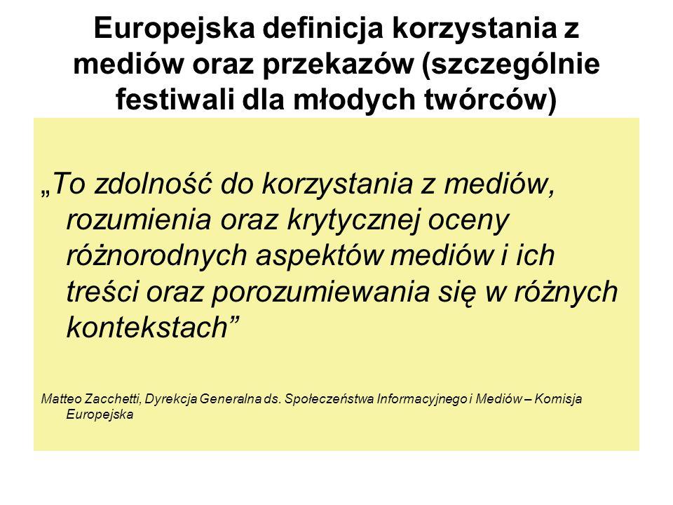 Europejska definicja korzystania z mediów oraz przekazów (szczególnie festiwali dla młodych twórców) To zdolność do korzystania z mediów, rozumienia o