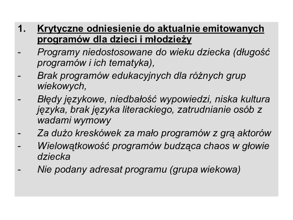 1.Krytyczne odniesienie do aktualnie emitowanych programów dla dzieci i młodzieży -Programy niedostosowane do wieku dziecka (długość programów i ich t