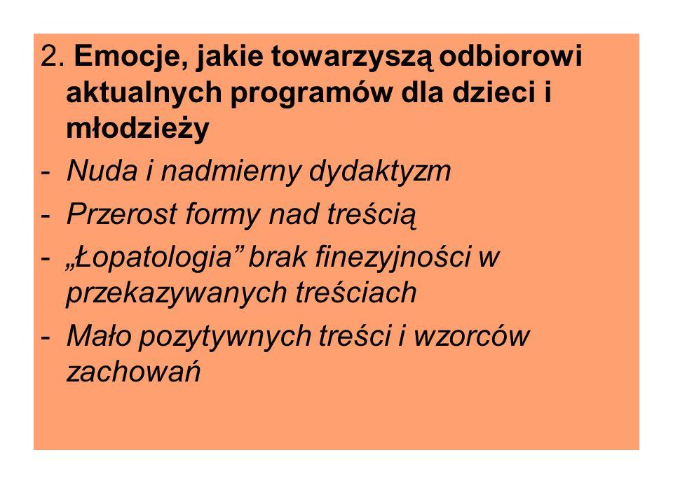 2. Emocje, jakie towarzyszą odbiorowi aktualnych programów dla dzieci i młodzieży -Nuda i nadmierny dydaktyzm -Przerost formy nad treścią -Łopatologia