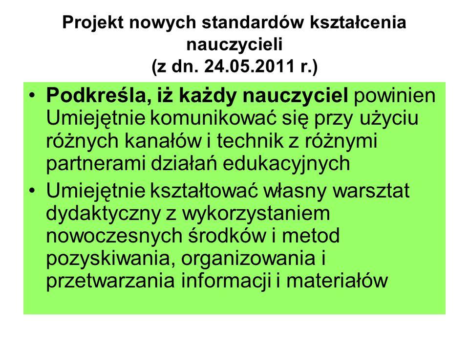 Projekt nowych standardów kształcenia nauczycieli (z dn. 24.05.2011 r.) Podkreśla, iż każdy nauczyciel powinien Umiejętnie komunikować się przy użyciu