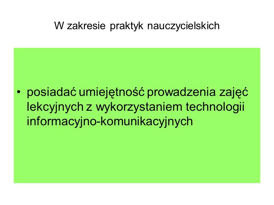 Konsekwencje powyższych działań W Polsce nie kształcimy już nauczycieli edukacji medialnej i czytelniczej Każdy nauczyciel (od nauczyciela edukacji wczesnoszkolnej do nauczycieli konkretnych przedmiotów w szkołach ponadgimnazjalnych musi posiadać umiejętności technologiczno- komunikacyjne)