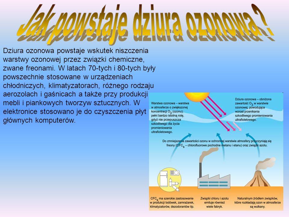 Dziura ozonowa powstaje wskutek niszczenia warstwy ozonowej przez związki chemiczne, zwane freonami. W latach 70-tych i 80-tych były powszechnie stoso