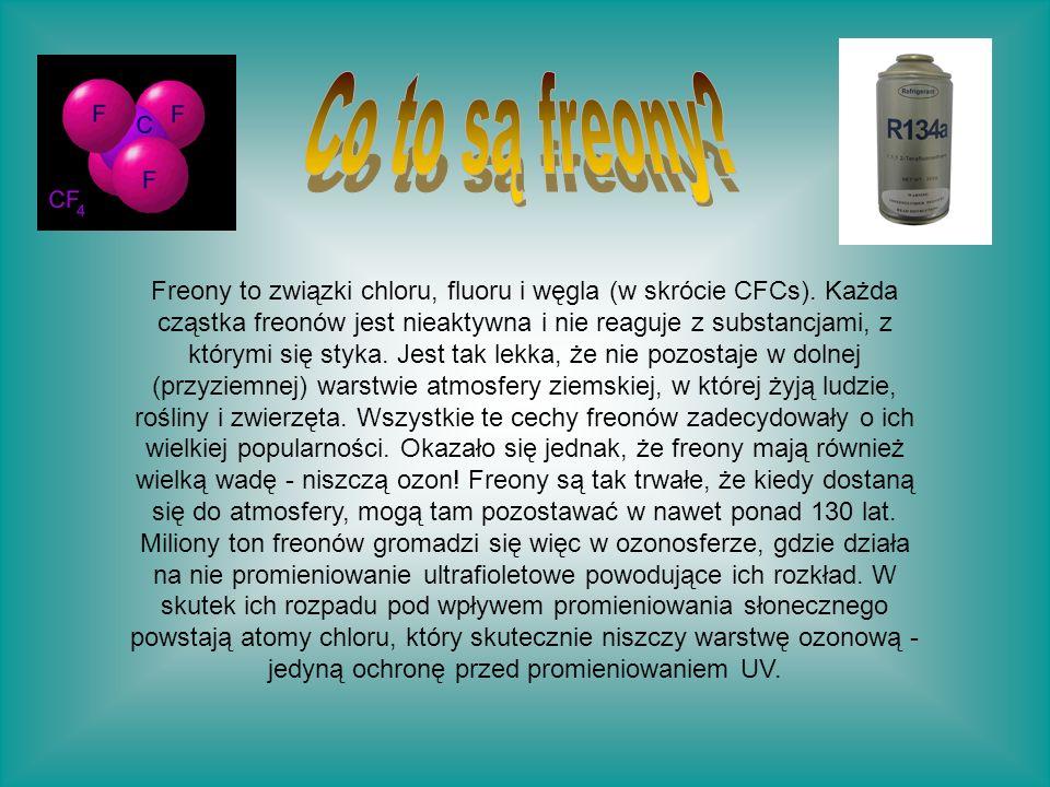 Freony to związki chloru, fluoru i węgla (w skrócie CFCs). Każda cząstka freonów jest nieaktywna i nie reaguje z substancjami, z którymi się styka. Je