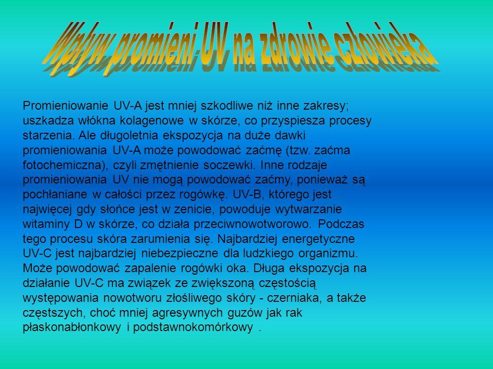 Promieniowanie UV-A jest mniej szkodliwe niż inne zakresy; uszkadza włókna kolagenowe w skórze, co przyspiesza procesy starzenia. Ale długoletnia eksp