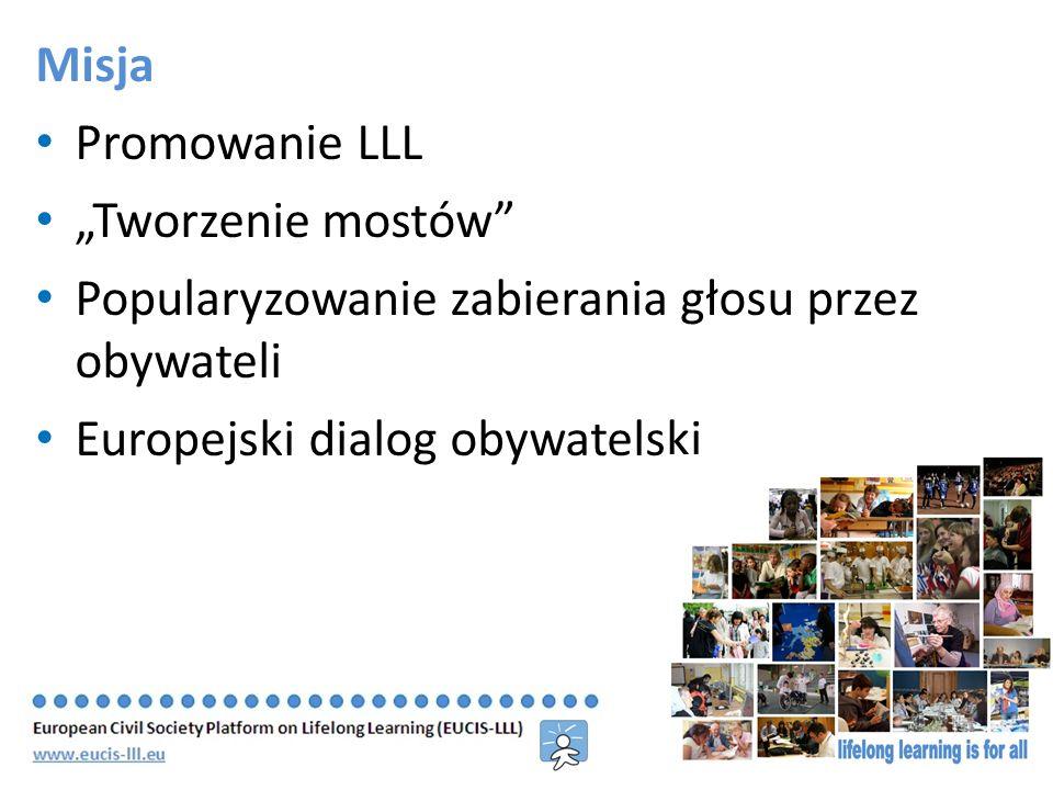 Misja Promowanie LLL Tworzenie mostów Popularyzowanie zabierania głosu przez obywateli Europejski dialog obywatelski