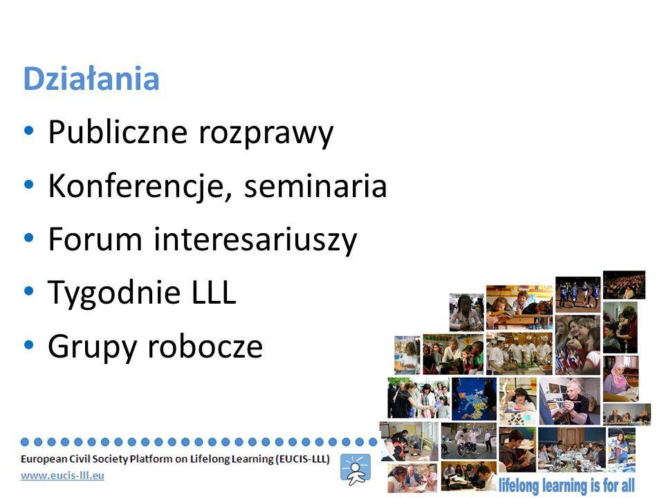 Działania Publiczne rozprawy Konferencje, seminaria Forum interesariuszy Tygodnie LLL Grupy robocze