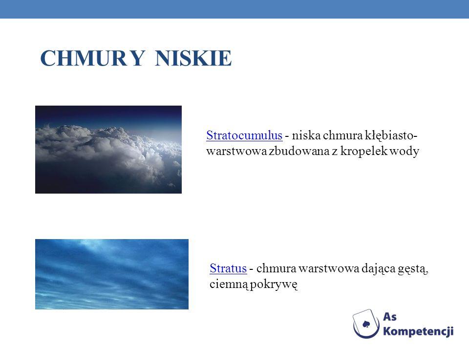 CHMUR Y NISKIE StratocumulusStratocumulus - niska chmura kłębiasto- warstwowa zbudowana z kropelek wody StratusStratus - chmura warstwowa dająca gęstą