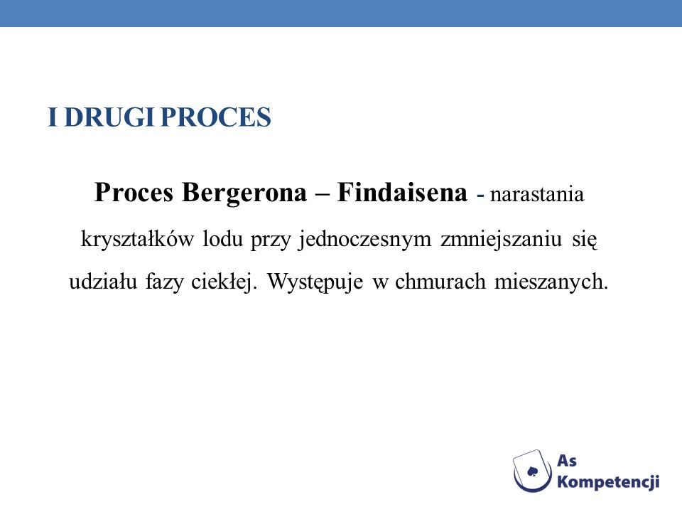 I DRUGI PROCES Proces Bergerona – Findaisena - narastania kryształków lodu przy jednoczesnym zmniejszaniu się udziału fazy ciekłej. Występuje w chmura