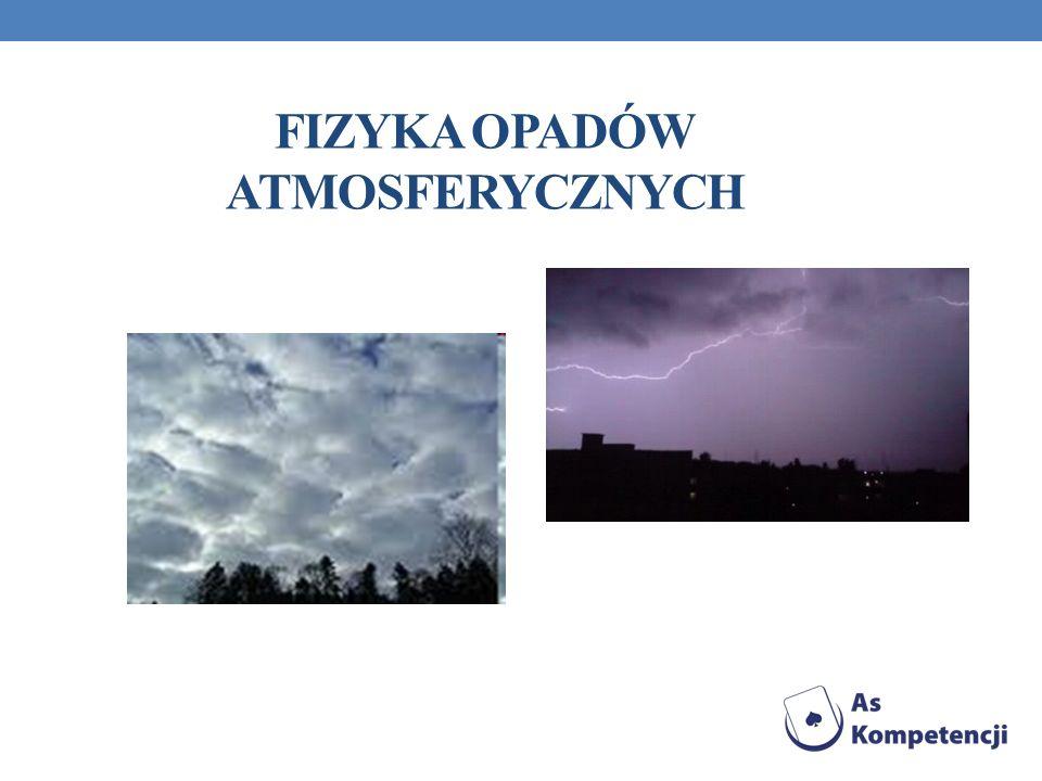 OPAD ATMOSFERYCZNY Zjawisko wypadania, opadania, stałych i ciekłych hydrometeorów z chmur w kierunku Ziemi pod działaniem siły grawitacji.
